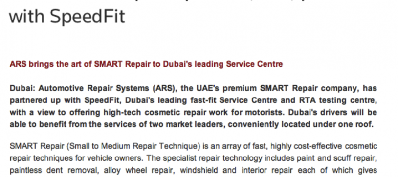 Another great editorial on our services and partnership with Speedfit!